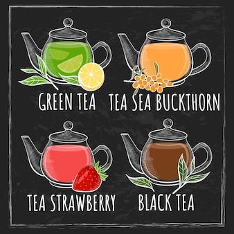 Conjunto de xícara de chá. chá diferente com texto no fundo do quadro-negro.
