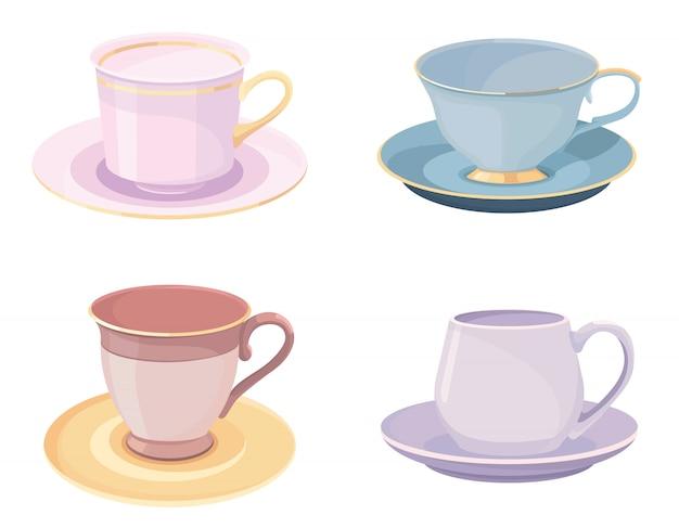Conjunto de xícaras. belos objetos em estilo cartoon.