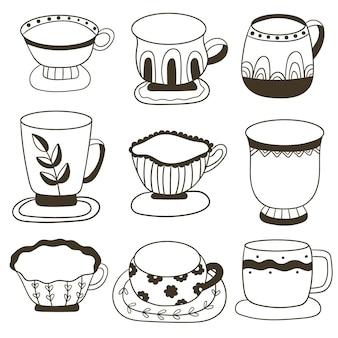 Conjunto de xícaras com chá ou café coleção de canecas com enchimento de bebidas louças fofas para bebida