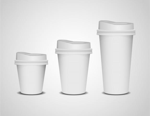 Conjunto de xícaras de café de papel 3d realista em branco de tamanho diferente