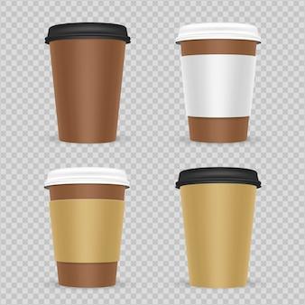 Conjunto de xícaras de café de papel realista