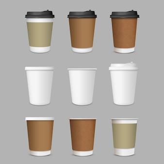 Conjunto de xícaras de café de papel