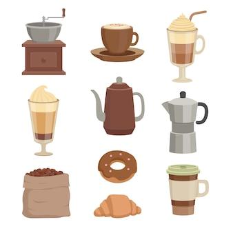 Conjunto de xícaras de café e recipientes para a hora do café