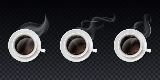 Conjunto de xícaras de café preto com vapor