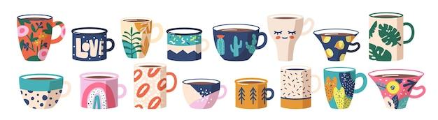 Conjunto de xícaras de chá ou café. louças de cerâmica, várias canecas com enfeites da moda, gatos, lábios, arco-íris e folhas de palmeira, limão, flores de cactos, manchas abstratas e padrões. ilustração em vetor de desenho animado