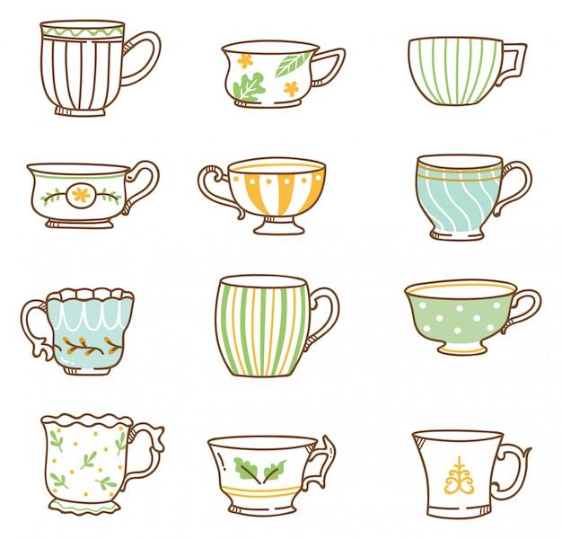 Conjunto de xícaras de chá vintage mão desenhada