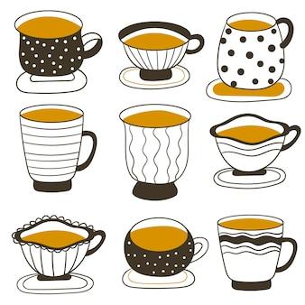 Conjunto de xícaras de chá vintage. xícaras de chá e café. ilustração vetorial