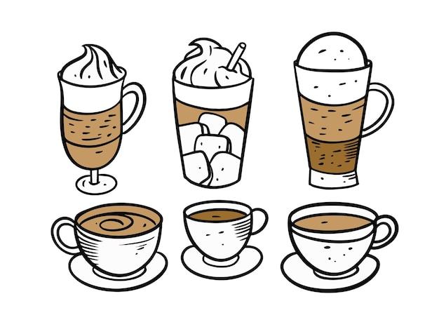 Conjunto de xícaras e canecas de café isolado no branco