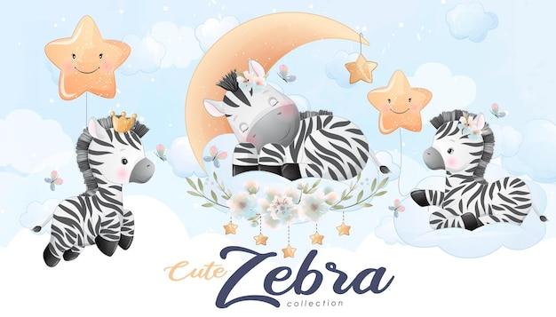 Conjunto de zebra pequena fofa com ilustração em aquarela