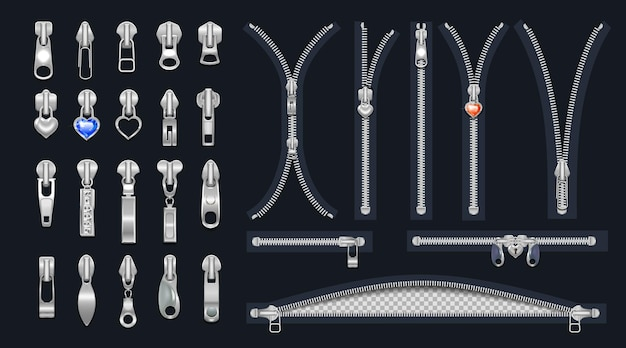 Conjunto de zíperes e controles deslizantes de metal com pingentes fechos abertos e fechados para design em metal prateado