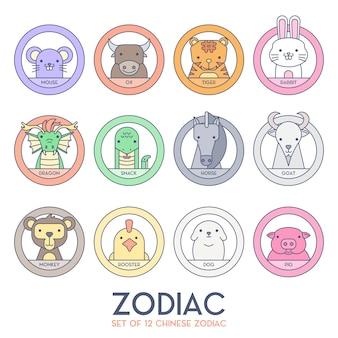 Conjunto de zodíaco chinês
