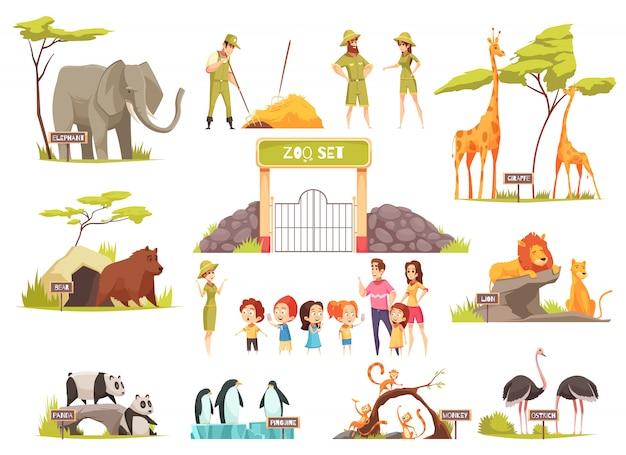 Conjunto de zoológico dos desenhos animados