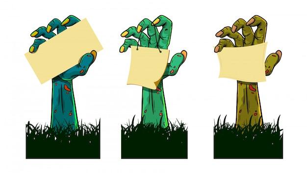 Conjunto de zumbis mãos segurando um papel em branco