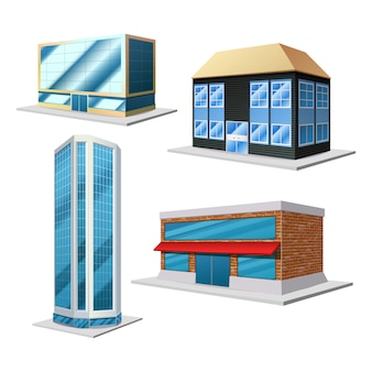 Conjunto decorativo 3d de construção