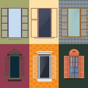 Conjunto decorativo colorido de janelas abertas