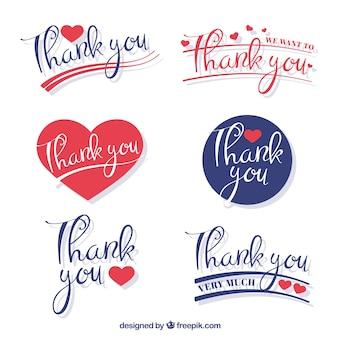 Conjunto decorativo de adesivos de agradecimento