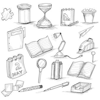 Conjunto decorativo de doodle desenhado à mão