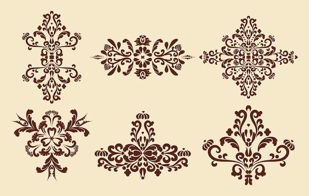 Conjunto decorativo de elementos de design vintage padrões de damasco cor bege e marrom computação gráfica