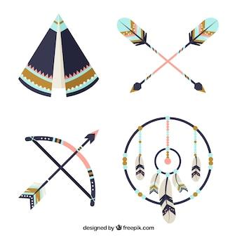 Conjunto decorativo de elementos étnicos com detalhes azuis
