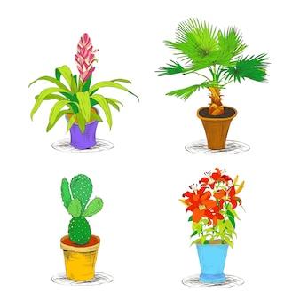 Conjunto decorativo de ícones florais de escritório