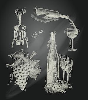 Conjunto decorativo de lousa de vinho