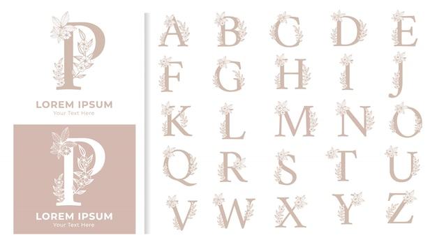 Conjunto decorativo de monograma alfabeto luxuoso