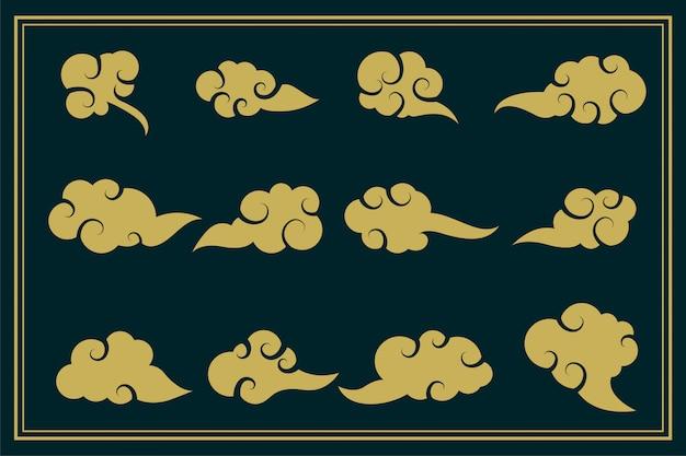 Conjunto decorativo de nuvens tradicionais chinesas de doze