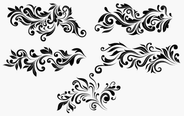 Conjunto decorativo floral ornamental