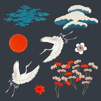 Conjunto decorativo vintage kamon japonês, remixado de obras de arte de domínio público