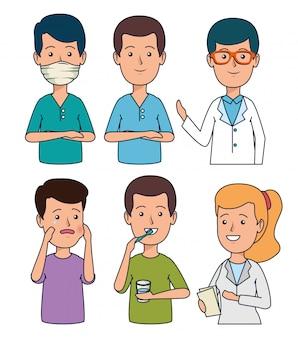 Conjunto dentista profissional com tratamento de dentes do paciente