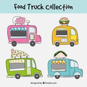 Conjunto desenhado à mão com caminhões de alimentos coloridos