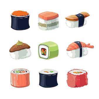 Conjunto desenhado à mão de comida de rolos de sushi