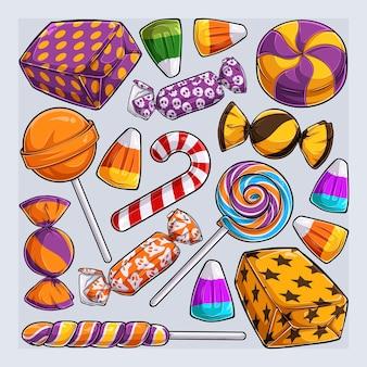 Conjunto desenhado à mão de doces de halloween coleção de doces coloridos e deliciosos de halloween
