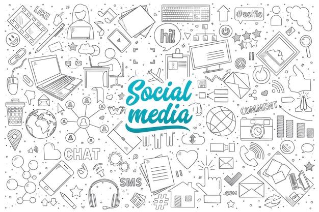 Conjunto desenhado à mão de doodles de mídia social com letras azuis