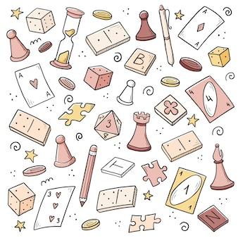 Conjunto desenhado à mão de elemento de jogo de tabuleiro