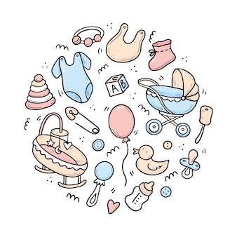 Conjunto desenhado à mão de elementos de chuveiro