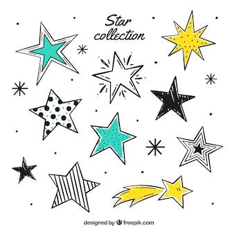 Conjunto desenhado à mão de estrelas