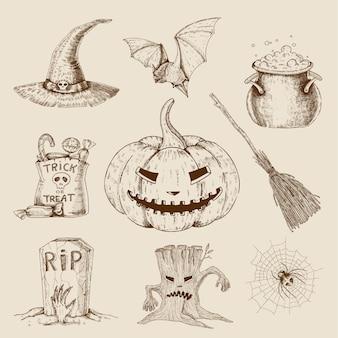 Conjunto desenhado à mão de halloween