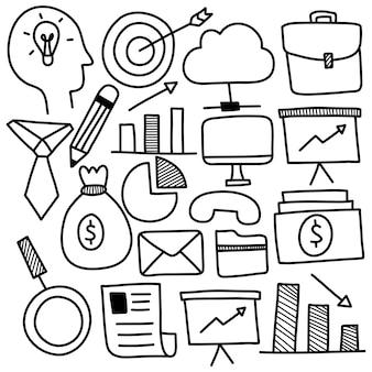 Conjunto desenhado à mão de ícones de negócios