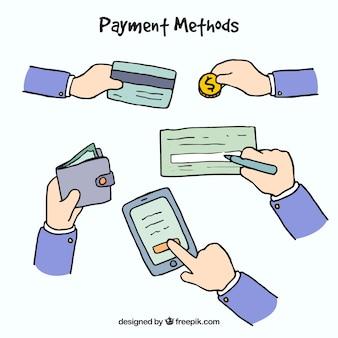 Conjunto desenhado à mão de métodos de pagamento
