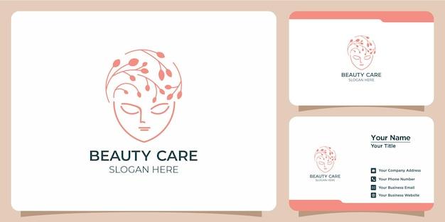 Conjunto desenhado à mão de modelos de logotipo feminino para beleza e cartões de visita