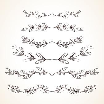 Conjunto desenhado à mão de molduras decorativas com elementos de decoração da página