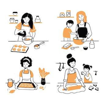 Conjunto desenhado à mão de personagens de culinária