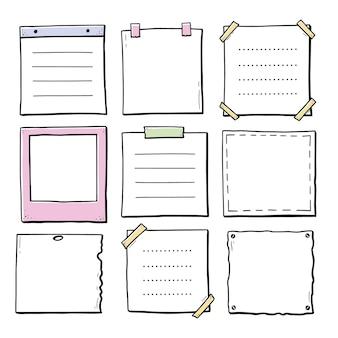 Conjunto desenhado à mão de porta-retratos de papel