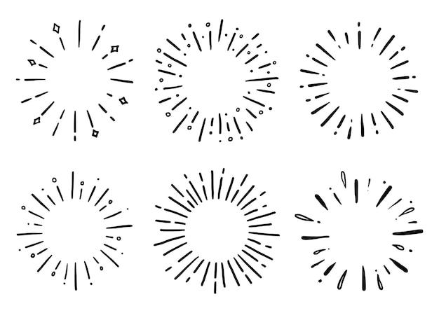 Conjunto desenhado à mão de rabisco de raio de brilho solar
