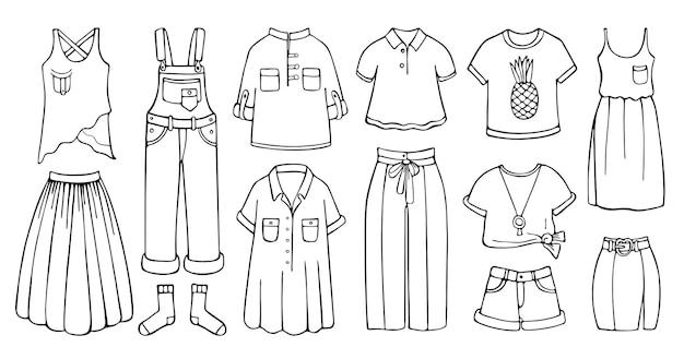 Conjunto desenhado à mão de roupas femininas para a primavera e o verão