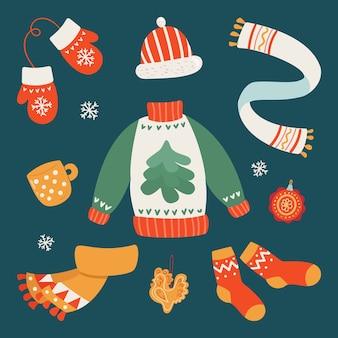 Conjunto desenhado à mão de roupas quentes de inverno