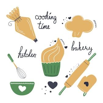 Conjunto desenhado à mão de saco de confeiteiro de cupcake de padaria chapéu de chefs potholder rolo de massa