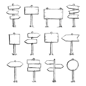 Conjunto desenhado à mão de sinal de direção de estrada