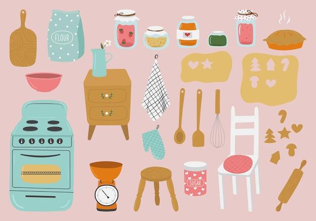 Conjunto desenhado à mão de utensílios de cozinha em estilo retro